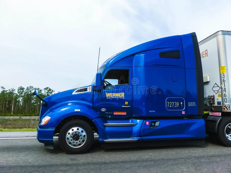 Orlando, Florida, USA - May 10, 2018: American style truck on freeway road at Orlando, Florida, USA. On May 10 2018 stock photography