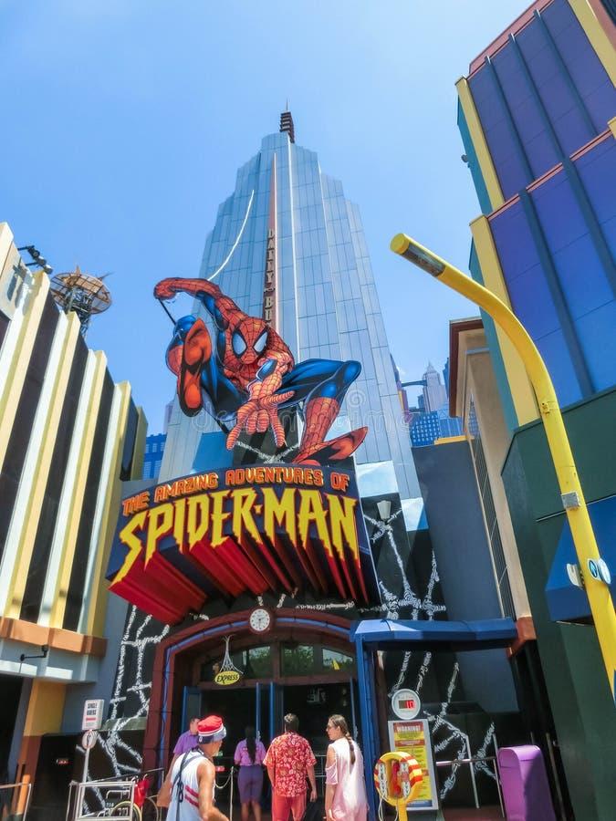 Orlando, Florida, USA - May 09, 2018: Entrance to SpiderMan ride. Universal Studios Orlando is a theme park. Resort in Orlando, Florida, USA stock image