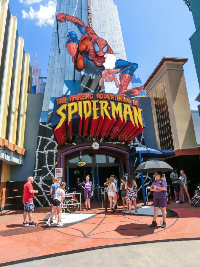 Orlando, Florida, USA - May 09, 2018: Entrance to SpiderMan ride. Universal Studios Orlando is a theme park. Resort in Orlando, Florida, USA royalty free stock photos