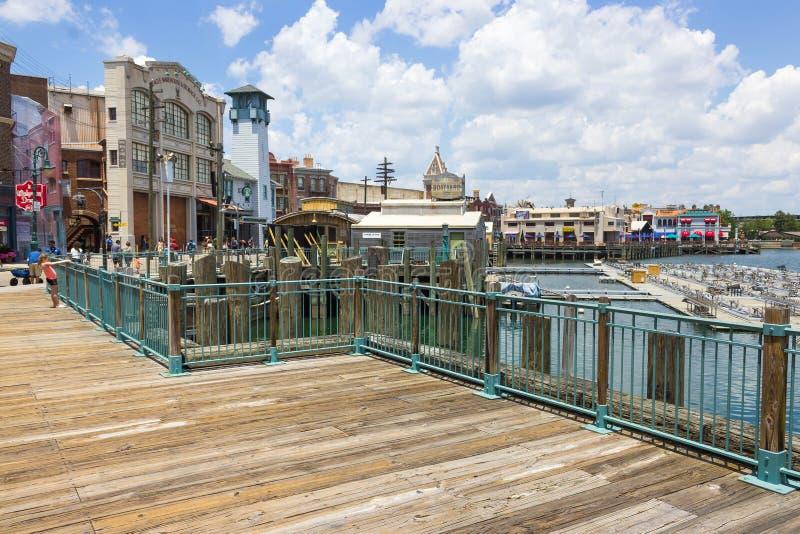 Orlando, Florida, USA - May 10, 2018: The pond at park Universal Studios. Orlando is a theme park resort in Orlando stock image