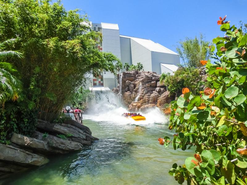 Orlando, Florida, USA - May 09, 2018: Jurassic Park River Adventure in the Jurassic Park area of Universals Island of. Orlando, Florida, USA - May 09, 2018: The royalty free stock image