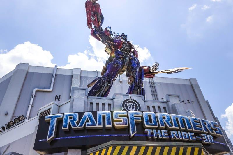 ORLANDO, FLORIDA, USA - MAY 08, 2018: Universal Studios. Entrance of Transformers 3D ride. royalty free stock photo