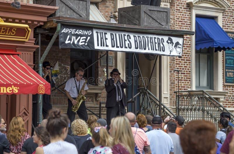 Blues Brothers Imitators perform at Universal Studios Orlando Fl stock images