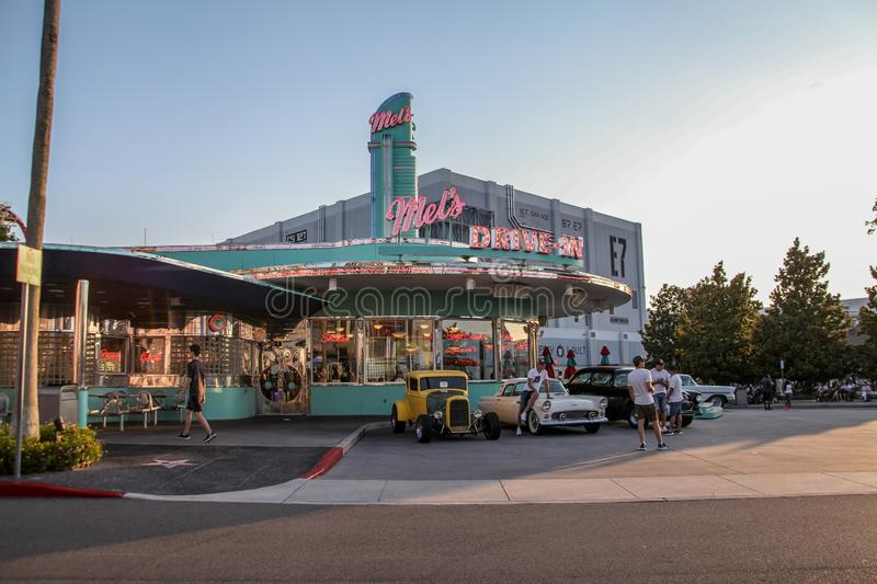 Mels DRIVE-IN, the facade modern American stock image