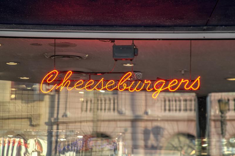 Orlando, Florida, USA, The sophisticated advertising. With clear glass façade and neon lighting of a traditional cheeseburger store in Orlando, Florida royalty free stock photos