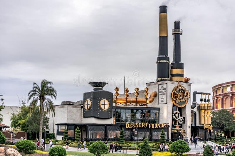 ORLANDO, FLORYDA, usa - GRUDZIEŃ, 2018: Toothsome Czekoladowa cząber uczty kuchnia przy Universal Studios i emporium fotografia stock