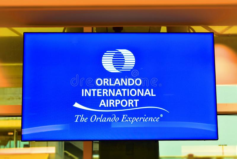 Orlando International Airport on colorful backround. stock image