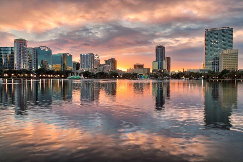 ORLANDO LAKE EOLA SUNSET REFLECTIONS stock image