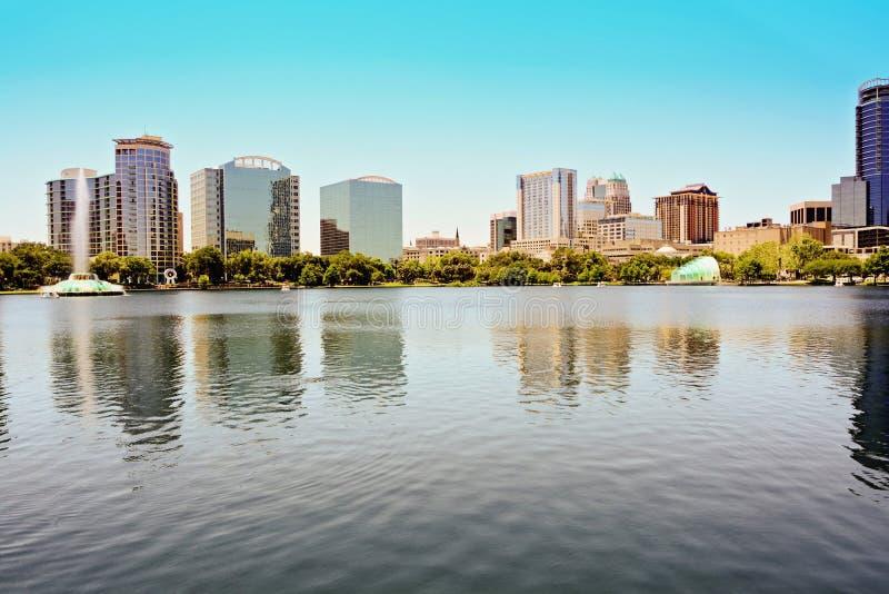 Orlando Lake Eola van de binnenstad stock foto's