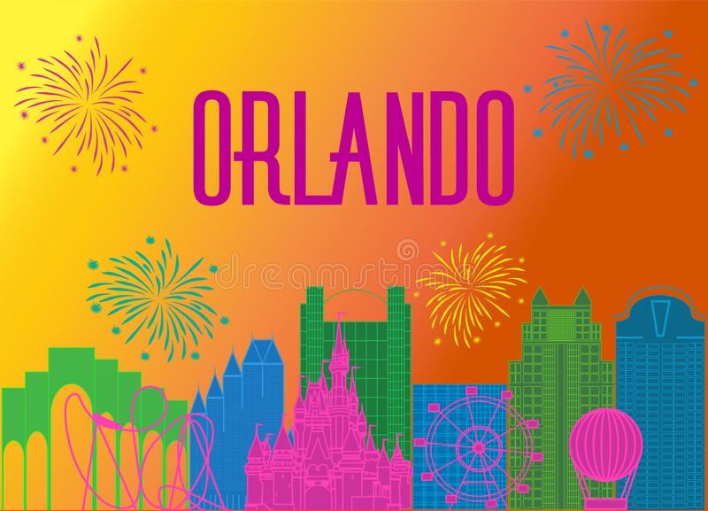Orlando magenta lettering on colorful background. Vector with travel icons and fireworks. Travel Postcard stock illustration