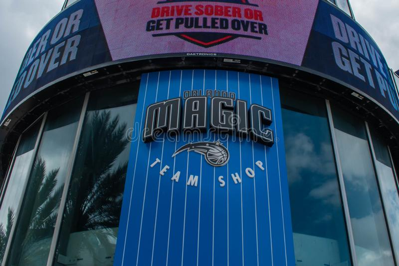 Orlando Magic Team Shop on Anway Center at downtown area 5. Orlando, Florida. August 17, 2019. Orlando Magic Team Shop on Anway Center at downtown area 5 royalty free stock photography