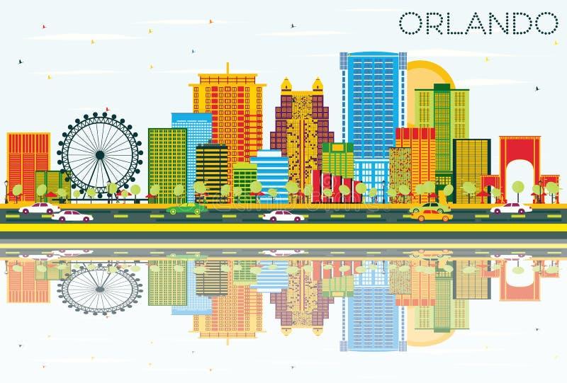 Orlando Skyline com construções da cor, o céu azul e as reflexões ilustração royalty free