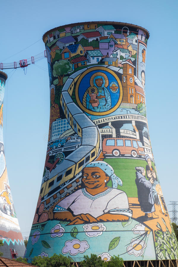 Orlando Towers in Soweto. Paintings on Orlando Towers in Soweto, Johannesburg stock image