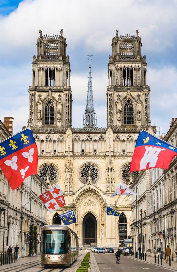 Orlean,卢瓦尔谷,法国圣洁十字架的大教堂  免版税库存照片