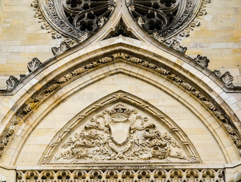 Facade of Cathedral of the Holy Cross of Orleans, Loire Valley,. Orleans, France: Detils of the carvings above the entrance doors of the Cathedral of the Holy stock photos