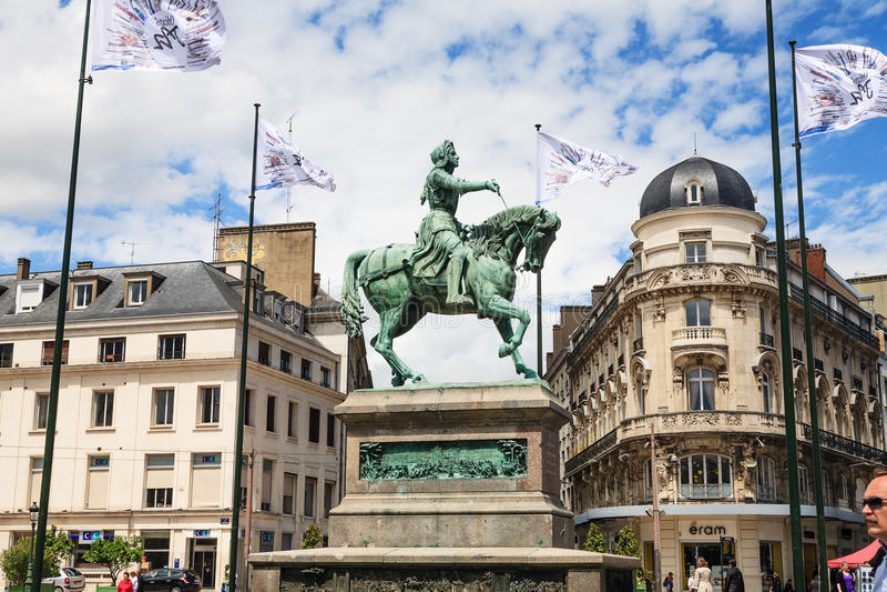 Orleans staty Jeanne D'Arc, Frankrike arkivfoton