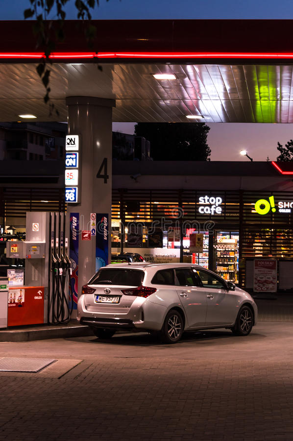 ORLEN gas station and cafe stop sign. Car fueling. PKN Orlen (WSE: PKN) is a major Polish oil refiner and petrol retailer stock image