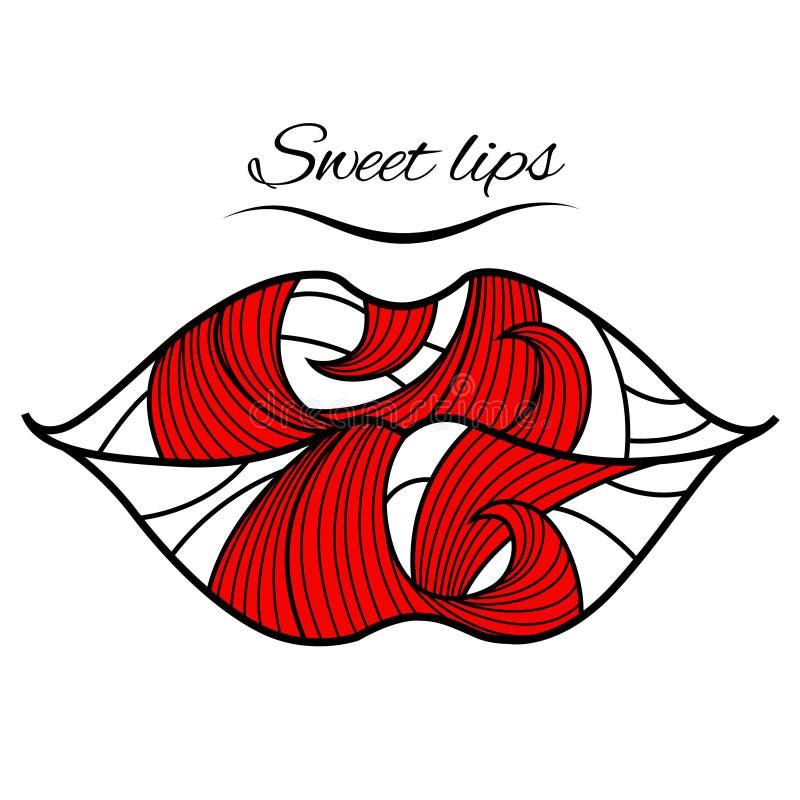 Orli con un petalo rosso illustrazione vettoriale