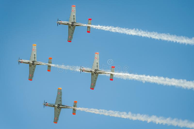 Orlik team shows great shows and leaves behind a smokes in the sky royalty free stock photography