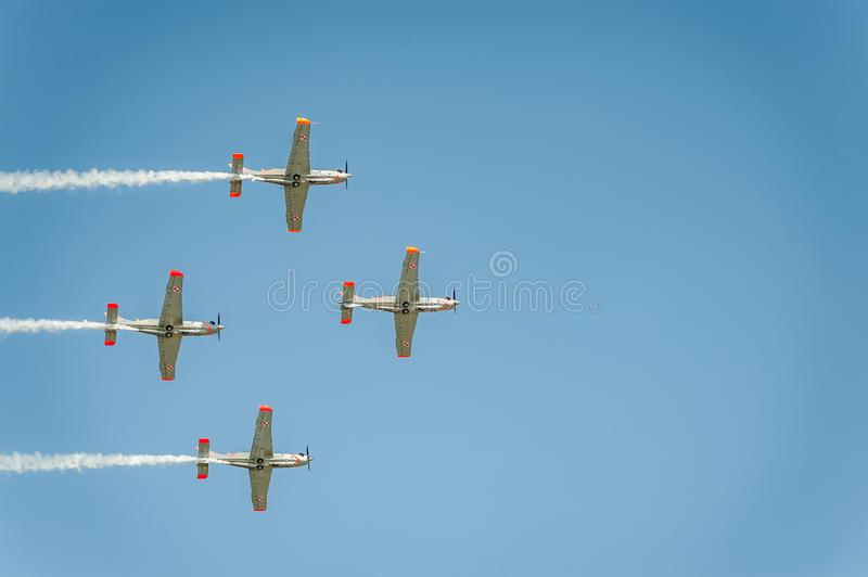 Orlik team shows great shows and leaves behind a smokes in the sky royalty free stock photo