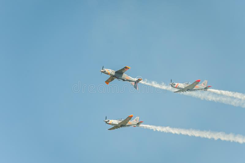 Orlik team shows great shows and leaves behind a smokes in the sky stock photos