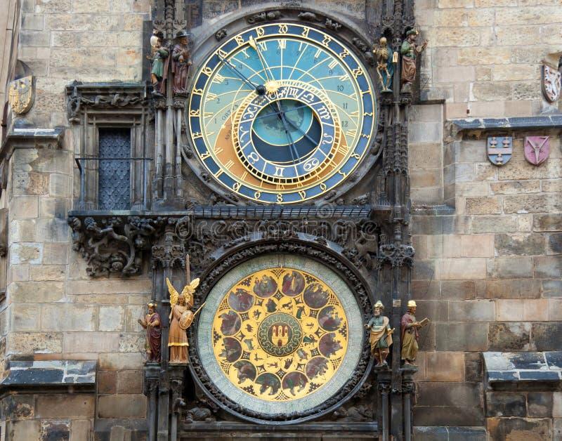 Orloj天文学时钟在布拉格在捷克 免版税图库摄影