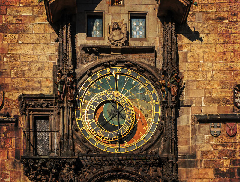 Orloj astronomical clock in Prague. Czech Republic, dark colors royalty free stock photography