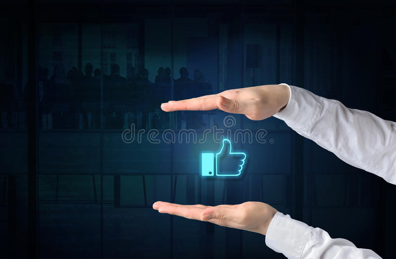 ORM as Online Reputation Management concept. Protecting gesture. Of businessman and symbol of a internet like icon over business background stock photography