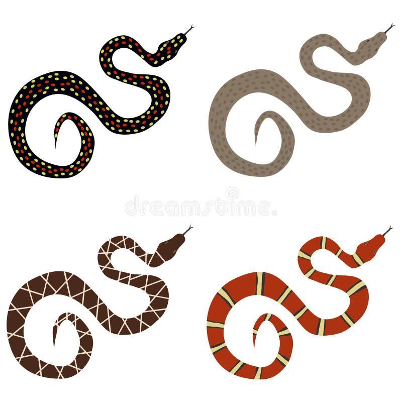 Orm en uppsättning av giftiga ormar stock illustrationer