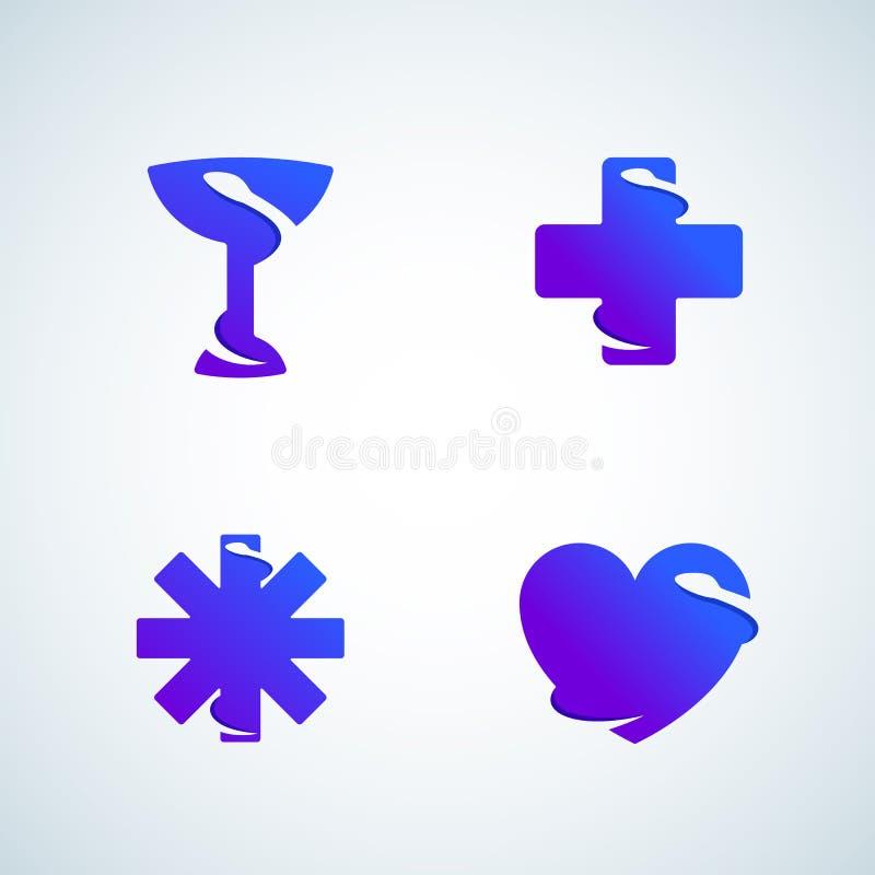 Orm för utrymme för medicinsymboler negativ Abstrakt vektortecken, emblem, symboler eller Logo Template Set Modern lutning stock illustrationer