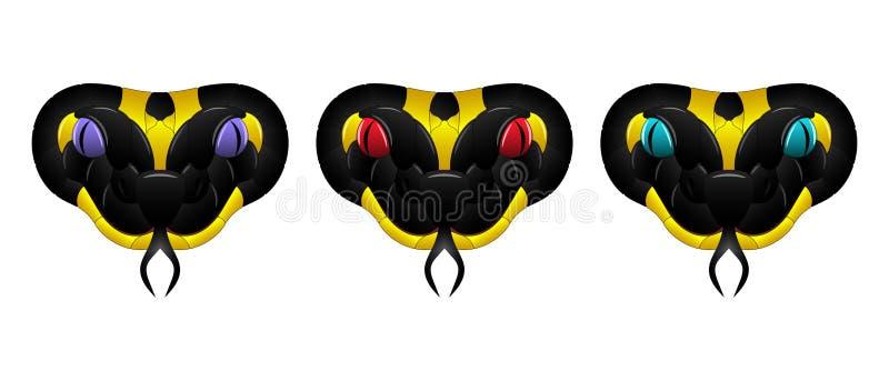 Orm för vektorsvartguling, illustration av ormhuvudet royaltyfri illustrationer