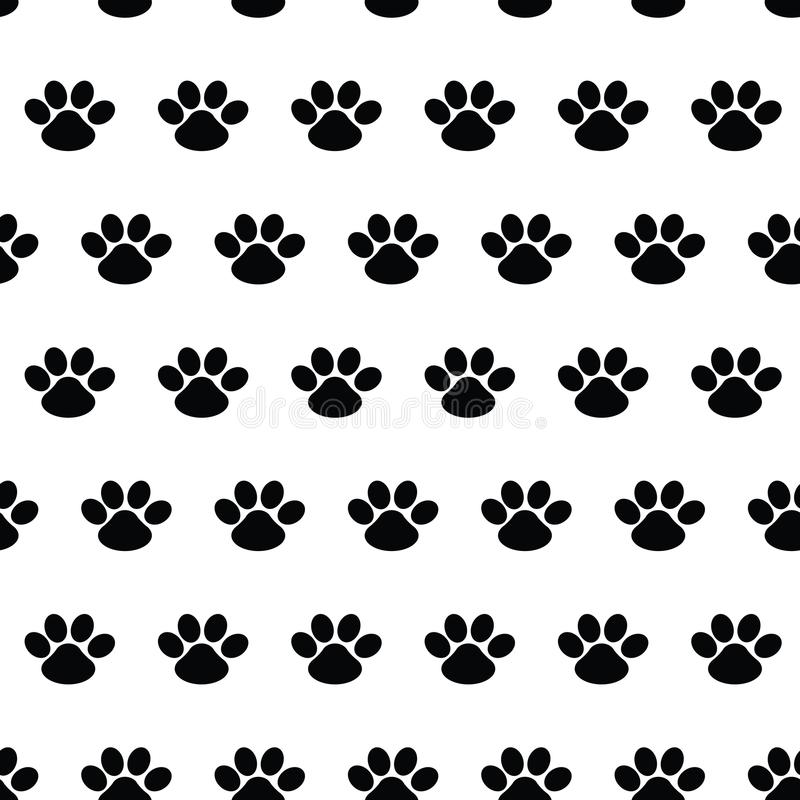 Orma animale Modello senza cuciture con le tracce di cani su bianco illustrazione di stock