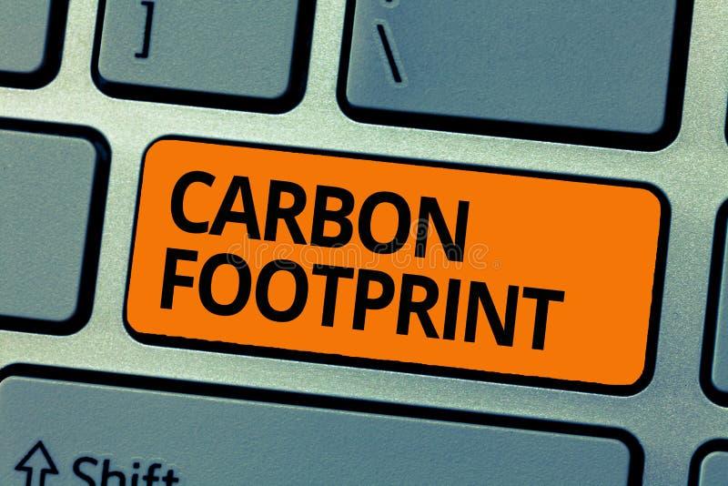 Orma del carbonio del testo di scrittura di parola Il concetto di affari per la quantità di diossido ha liberato il risultato del fotografie stock