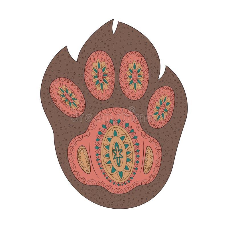 Orma disegnata a mano dell'animale La stampa delle zampe del cucciolo Libro da colorare di groviglio di zen illustrazione di stock