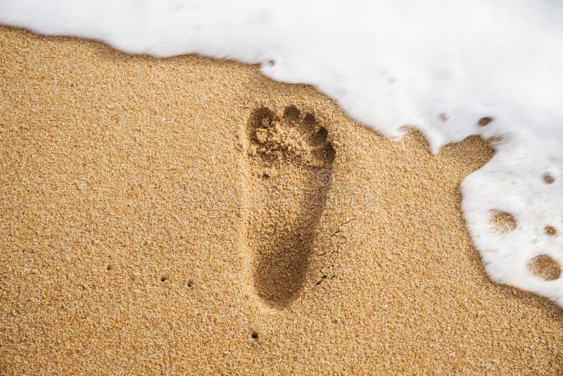 Orma sulla spiaggia di sabbia immagini stock libere da diritti