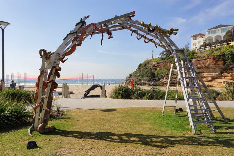 Ormar och stegar på den Tamarama stranden royaltyfri foto