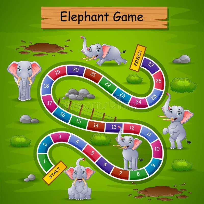 Ormar och stegar spelar elefanttema vektor illustrationer