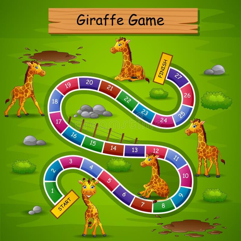 Ormar och stegar spelar girafftema royaltyfri illustrationer