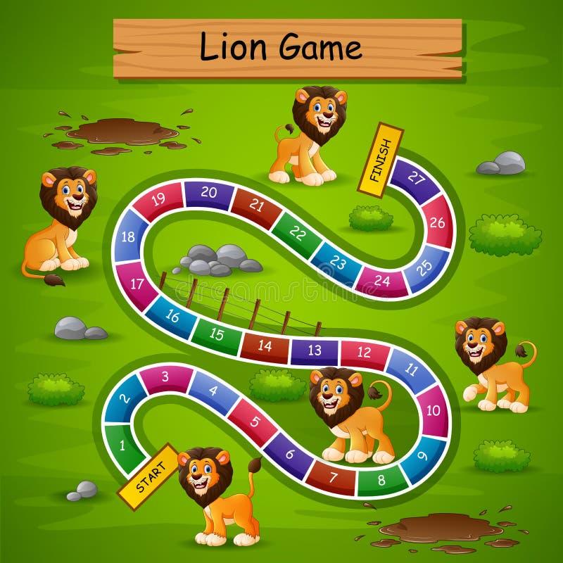 Ormar och stegar spelar lejontema vektor illustrationer