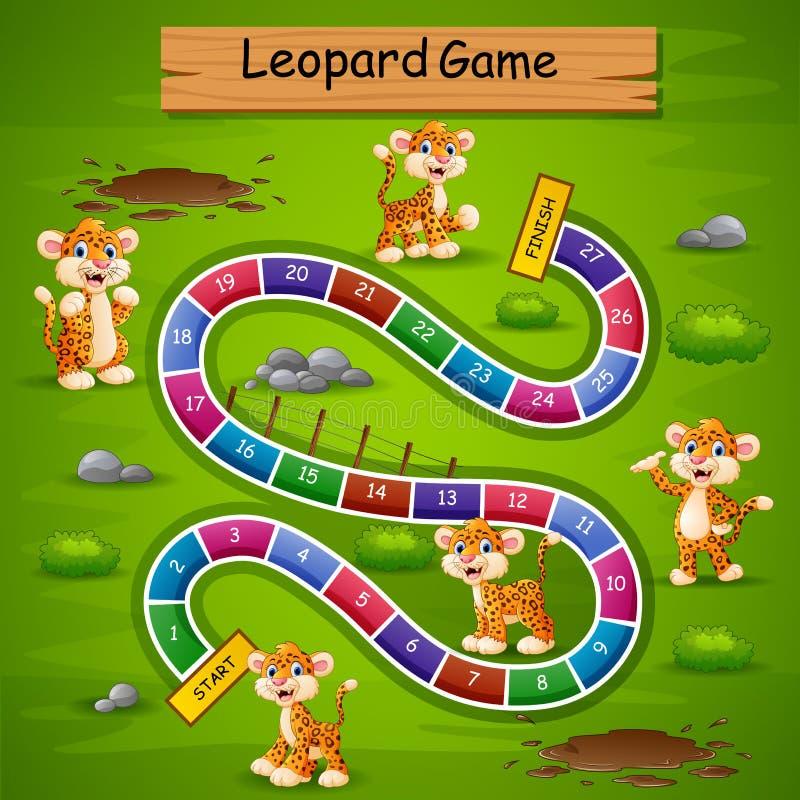 Ormar och stegar spelar leopardtema stock illustrationer
