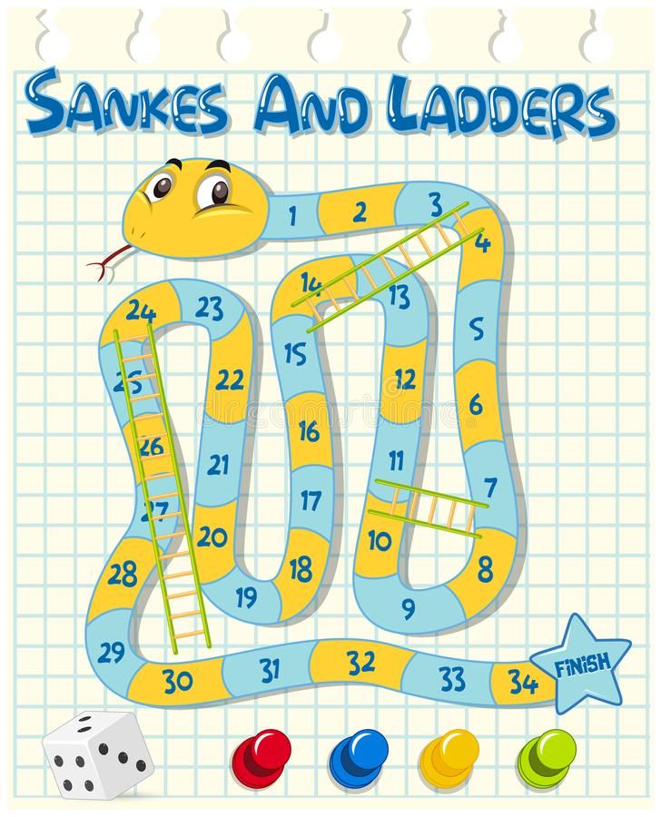 Ormar och stegar spelar på rasterpapper royaltyfri illustrationer