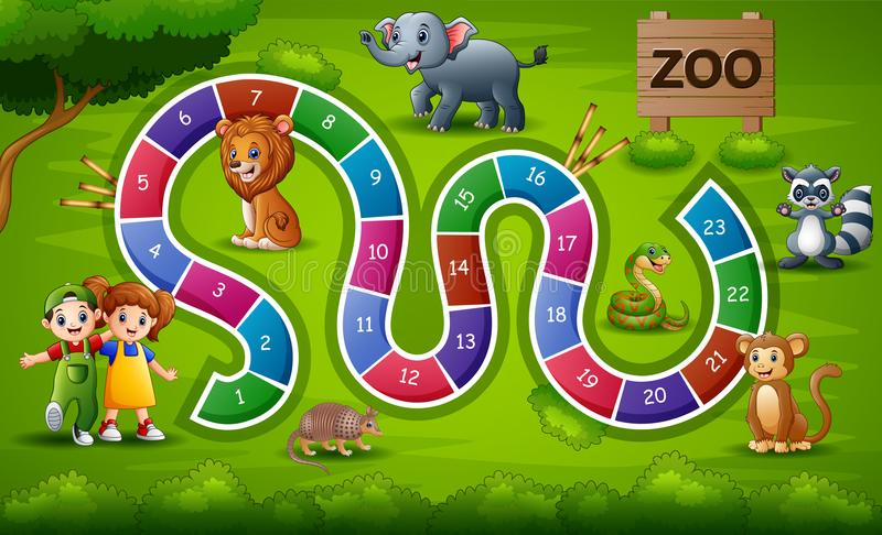 Ormar och stegar spelar zootema vektor illustrationer