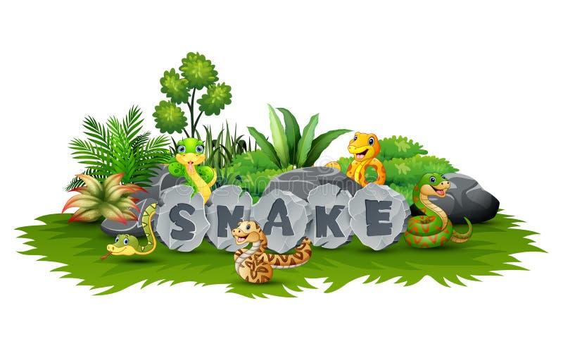 Ormar spelar i trädgården royaltyfri illustrationer