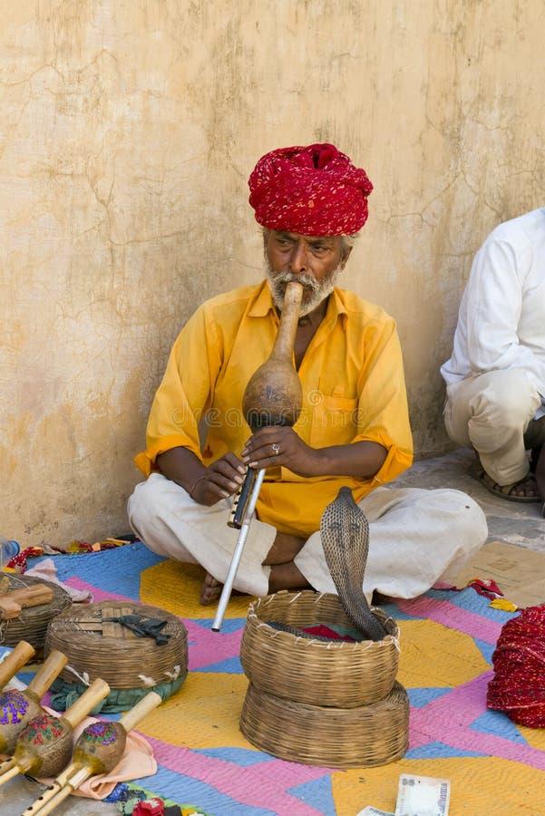 Ormcharmör, folk från Indien, loppplats royaltyfri foto