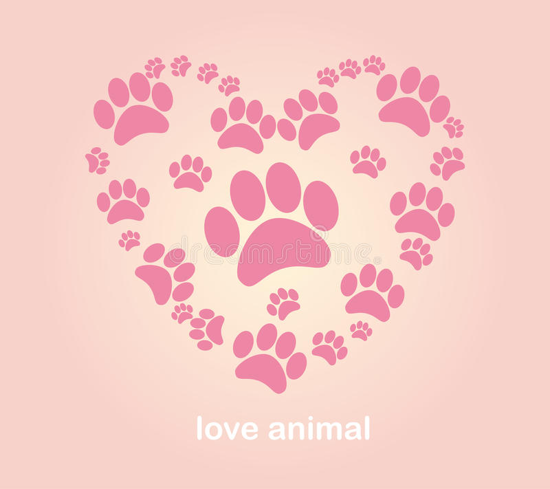 Orme dell'animale del cuore royalty illustrazione gratis