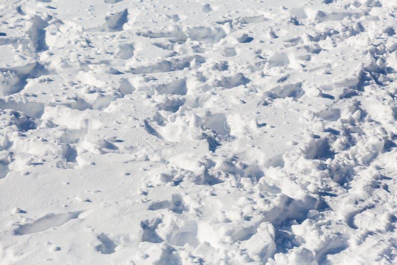 Orme nella neve Giorno soleggiato del ` s di inverno direzione fotografia stock