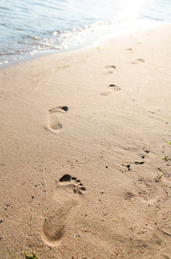 Orme sulla sabbia della spiaggia al tramonto immagine for Disegni moderni della casa sulla spiaggia