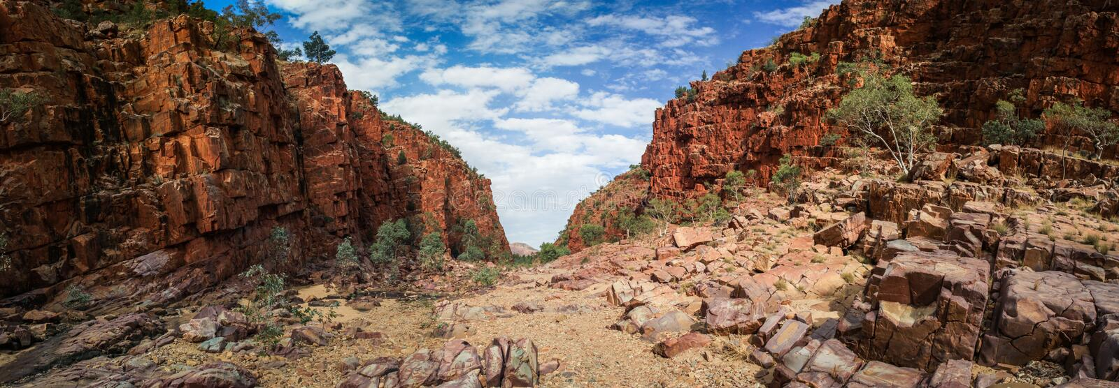 Panoramic view of Ormiston Gorge in the west MacDonnell range, Northern Territory, Australia,. Ormiston Gorge is a great place for a swim, or to see the towering royalty free stock photo