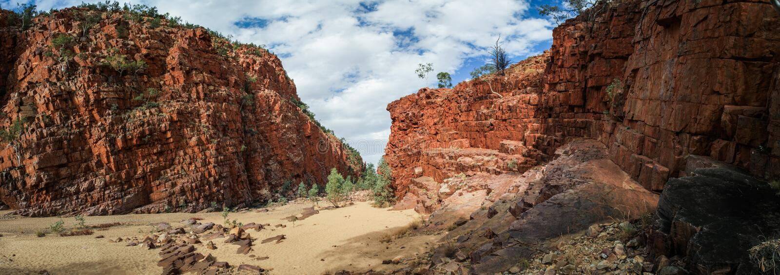 Panoramic view of Ormiston Gorge in the west MacDonnell range, Northern Territory, Australia,. Ormiston Gorge is a great place for a swim, or to see the towering royalty free stock photos