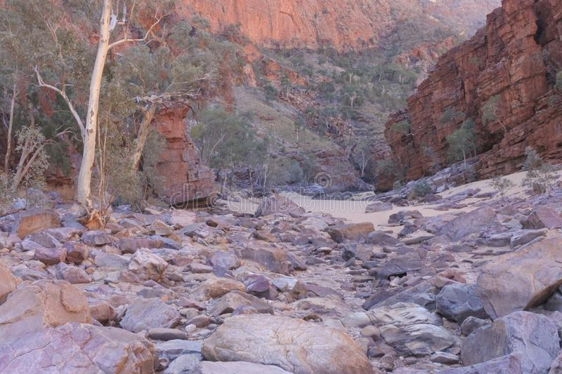 Ormiston Gorge West MacDonnell National Park Northern Territory Australia. Landscape view of Ormiston Gorge in West MacDonnell National Park in the Northern stock images